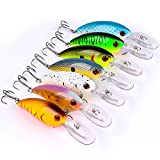 A-SZCXTOP Topwater Floating Fishing Lures Artificial Baits Bass Crankbaits Fishing Hooks Tackle (Type 4)