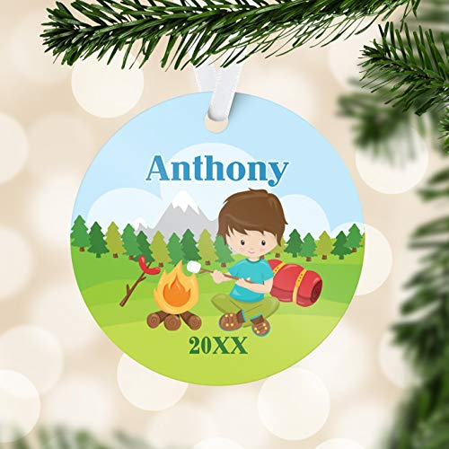 C-US-lmf379581 Personalized Camping Ornament Big Camp Out Camping Holiday Decoration Outdoor Camper Ornament You Pick Kid Childs Name