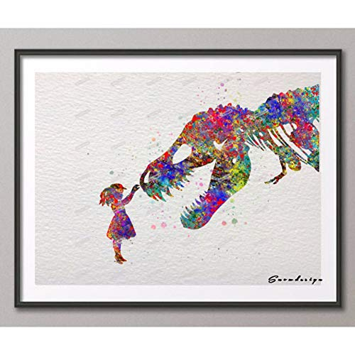YCOLLC Lienzo de Pintura Acuarela Trex Dinosaurio con niña Impresiones de Carteles Imágenes Lienzo Pintura Moderna Pared kidsom Decoración Pegatina