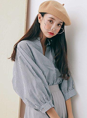 Azbro Women's V Neck 3/4 Sleeve Stripe Pullover Blouse blue