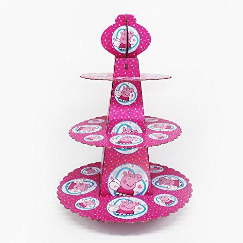 trimmen Shop Peppa Pig Pink Cupcake Ständer 3Etagen rund Tower Karton Made für Kinder Kinder Party Ereignisse zeigen