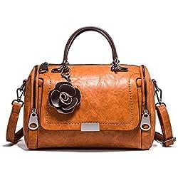Hypasa femmes bandoulière cartable portés dos sac dames hobo main porté épaule sac à main en cuir véritable style rétro (Marron)