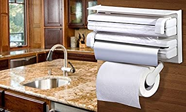 Prexea 3 in 1 Multipurpose Use Kitchen Triple Paper Roll Dispenser & Holder for Kitchen Tissue Paper Roll, Aluminum Foil and Plastic Wrapping Film / Cling Film