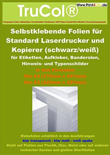 10 fogli di adesivi A4 chiari lucidi per stampanti laser e fotocopiatrici in bianco e nero (stampante laser standard + copiatrice) Spessore: 0,08 millimetri