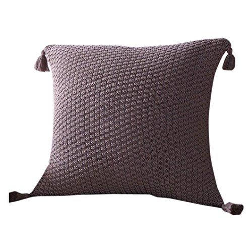 Kissen Fall gestrickt, die vneirw Quasten Sofa Home Decor Werfen Kissen Kissen Kissenbezug 18x 18, coffee, 18x18 inch (Faux-pelz-luxus-werfen)