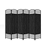 Black Folding Raffia Weave Wicker Privacy Panels / Room Dividers (6 Panel)