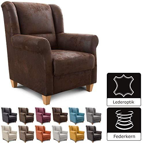 Cavadore Sessel Finja mit Federkern / Ohrensessel im modernen Landhausstil / passender Hocker separat erhältlich / 87 x 102 x 96 / Lederoptik Braun
