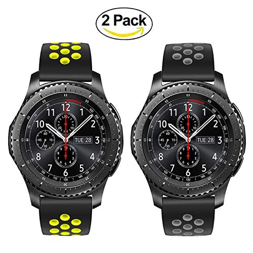 TRUMiRR Armband kompatibel mit Huawei Herren GT/Galaxy Watch 46mm/Gear S3 Classic/Frontier Armband, 22mm Silikon Gummi Armband Quick Release Uhrenarmband Sport Ersatzband