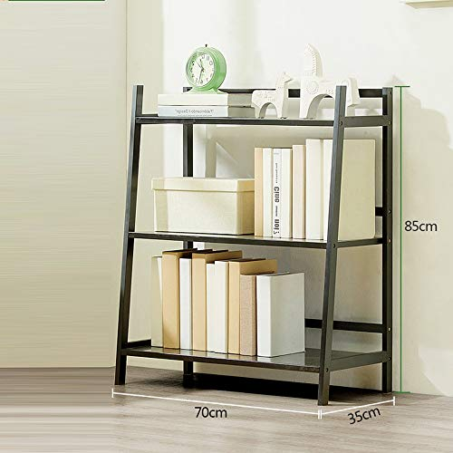MEIDUO Bücherregal, freistehende Ladder Shelf Rack Storage Display für Leaning Home Office Blumenregal sehr langlebig (Farbe : SCHWARZ, größe : 3 Tier) - 3-tier-ladder Regale