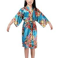 JZLPIN Girls Floral Print Satin Kimono Robe Bathrobe - Wedding Robe - Bridesmaids Dressing Gown Blue 12 (Height 51.2-57.1 in)
