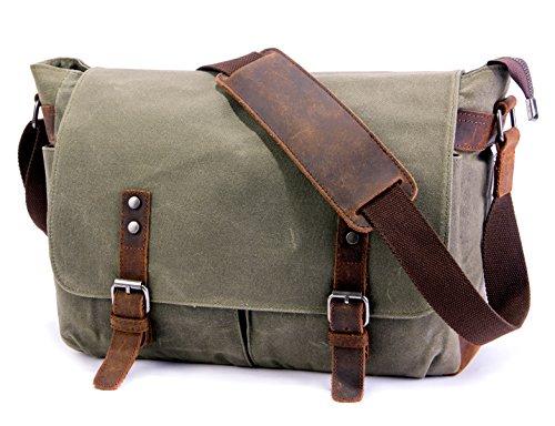 SUVOM Mens Messenger Bag, Original Leder Leinwand Messenger Bag, wasserdichte Laptop Messenger Bag für 14 Zoll Laptop, Vintage Satchel Briefcase Cross Body Shoulder Tasche für den täglichen Gebrauch,