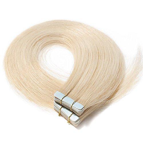 Tape Extensions Echthaar Haarverlängerung Tape in Klebeband Haar 20 Tressen x 4 cm breit 50g-55cm(#60 Weißblond)