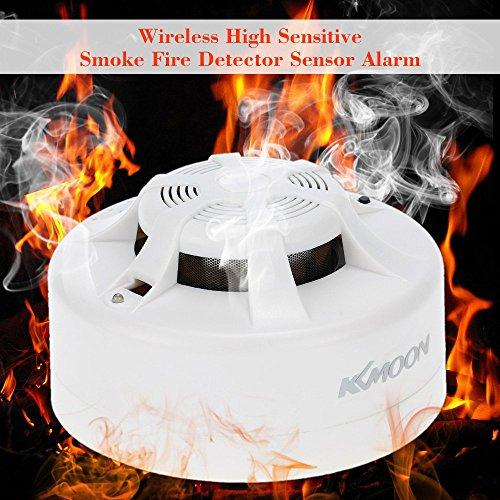 KKmoon Wireless Senza Fili Alta Sensibilità Rivelatore di Fumo Incendio Sensore Allarme Sistema di Sicurezza Sicurezza Domestica