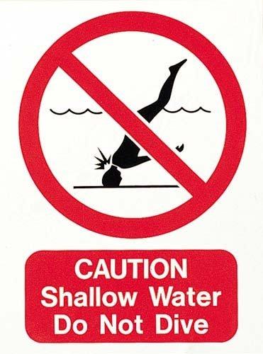 Nouveau Os piscine Attention eau peu profonde ne Pas plonger Sign 300 x 400 x 2 mm PLAQUE