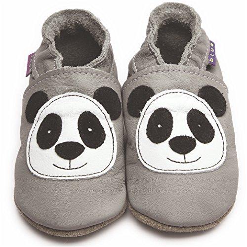 InchBlue Inch Blue Krabbelschuhe Leder, Panda grau, 12 bis 18 Monate 6 bis 12 Monate