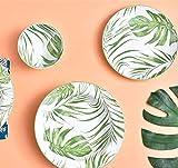 YYHWCFW Servizio Cena Piatti Piatto in Ceramica Dipinta a Mano con pianta Verde Tropicale Portavaso in Ceramica Semplice con Vassoio per Riso 6 pacchi
