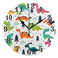funnyy Vintage Colorful Dinosaur Pattern Round Acrylic Wall Clock, Silent Non Ticking Art Painting Clock for kids Girls Children Bedroom Living Room School Home Decor