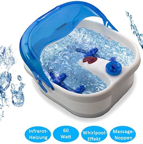 Fußmassagegerät | Fußsprudelbad | 4 Fuß - Reflexzonen - Massage | Fussmassagegerät | Fussmassage | Fusssprudelbad | Massagegerät für Füße mit Infrarot Wärme |  Whirlpooleffekt | 4 abnehmbare Rollen
