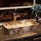 Lavabo de porcelana, baño de arte, Lavabo de baño rectangular pintado a mano, Lavabo de cerámica, diseño 2