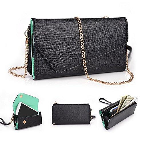 Kroo d'embrayage portefeuille avec dragonne et sangle bandoulière pour Smartphone Nokia Asha 501 Noir/gris Black and Green