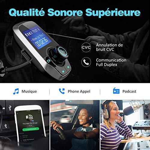 VICTSING Transmetteur FM Bluetooth Adaptateur Bluetooth Autoradio Kit Voiture Main-Libre sans Fil Adaptateur Radio Chargeur avec Double Port USB 5V/ 2.1A et Port Audio 3,5mm(Gris)