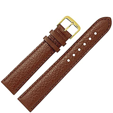 Uhrenarmband 16mm Leder braun Büffelnarbe, mit Naht - MADE IN GER - inkl. Federstege & Werkzeug - Uhrarmband im Büffeldesign - Marburger Uhrenarmbänder seit 1945 - mittelbraun / gold