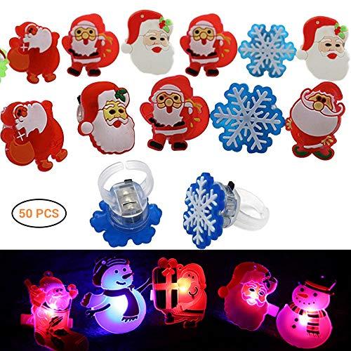 (50 Stück LED Fingerlichter Fingerring Leuchtringe Weihnachten Christmas Glow Ring Blinkend Ringe Fingerlampe Flashing Finger Spielzeug Beleuchtet für Täntze, Musikfestival,Party,zufälliger Stil)