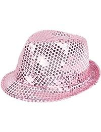 'Chapeau de style trilby pailleté Idéal en complément d''un déguisement dans le cadre d''une soirée à thème, choisir la couleur:TH-63 rose'