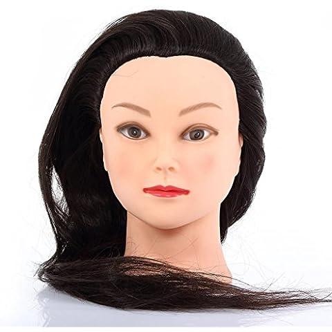 CoastCloud Corte Peluquería la cabeza de Formación Práctica Modelo maniquí 20% del pelo humano 60cm (con