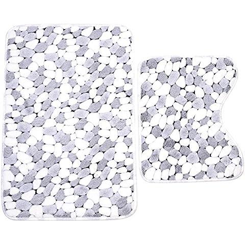 Soledi 2 × Alfombras de Baño Antideslizante Engrosada Gris Piedra
