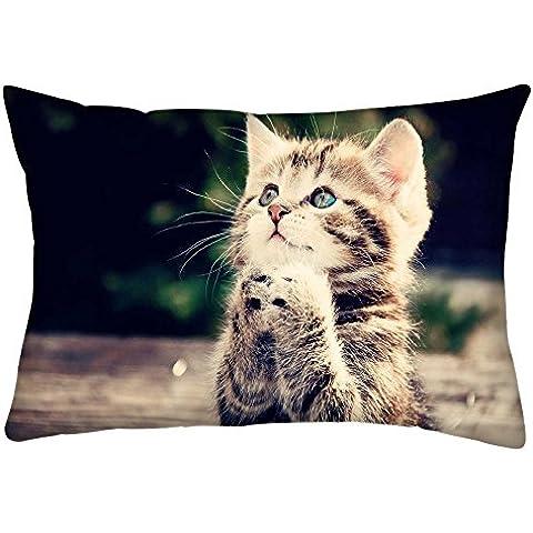 Snoogg Gato rezando Rectángulo Toss Throw Pillow Cojín Funda Decoarative funda de almohada de 20x