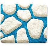 Badematte PATTY | aus flauschigem Hochflor | zum Set kombinierbar | weiß-blau | 5 Größen wählbar (50x60 cm)