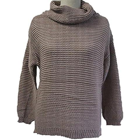 ZQQ Ladies invierno Europa viento Turtleneck suéter jersey de punto , khaki , l