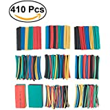 UEETEK 410Pcs Colorful Shrink Tubing Set Assorted Heat Shrink Tubing Sleeve