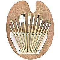 Kurtzy Ensemble Palette en Bois et 12 Pinceaux par Lot de Pinceaux et Palette pour Peinture Acrylique - Parfaits pour les Loisirs Créatifs et Artistiques pour les Professionnels et les Amateurs