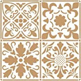 Stencil Deco Fondo 097 Baldosas 2 capas. Medida exterior del stencil: 20 x 20 cm Medida del diseño: 18,2 x 18,2 cm
