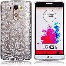 "Voguecase® Para LG G3S(5""), ultra-slim fit TPU Funda de Silicona de Gel Carcasa Tapa Case Cover (encaje de flores 06) + Gratis aguja de la pantalla stylus universales"
