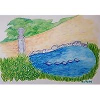 Zeichnung Teich im Park 29,5 x 21 Kunst Aquarell handgemalt Teich Park Geschenk
