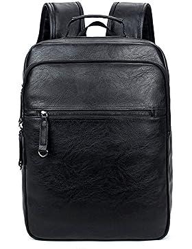 FULIER Männer Leder Rucksack Lässig College Bookbag Mode Laptop Daypack Wandern Tasche multifunktions Taschen