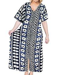 La Leela Plus Bikini Swimsuit Kaftan Hibiscus Women Beach Coverup Button Closure Evening Slit Dress Caftan Maxi