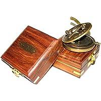 Brújula de latón con Caja de Madera brújula de Bolsillo Epstein London Bhartiya artesanía, Push Button