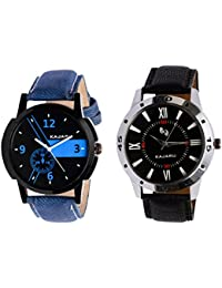 Kajaru KJR-6,10 Round Black Dial Analog Watch Combo For Men (Pack Of 2)