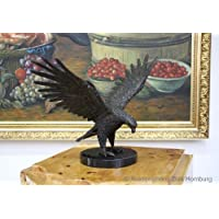 Scultura in bronzo raffigurante aquila - base in marmo - 39 cm - 9,4 kg - Aquila Scultura In Bronzo