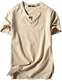 11a6215ee9 QinMM Camiseta Tops de Verano de Algodón para Hombre