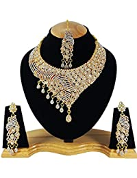 Finekraft Kundan Zircon Wedding Style Gold Plated Choker Necklace Earrings Tikka Jewelry For Women