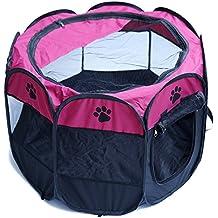 Semoss Casa Perro Exterior Cama Perro Pequeño Impermeable Jaula Perro Plegable Interior Perrera Perros para Perros,Gatos,Conejos y Animales,Tamaño:S,48 X 33 cm,Rose