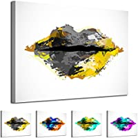 AB1861 WOYW Framed Canvas Print - A Modern Wall Art - Abstract Picture - Colour Options - Grey Yellow Grunge Two Tone Paint Effect Lips - Living Room & Home Decor with Easy Hang Guide (80x120)