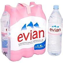 Evian - Botellas de agua mineral sin gas (6 unidades de 500ml)