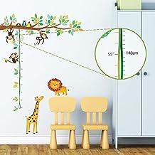 Decowall DW-1402 Árbol de Monitos y Gráfica de Altura de Animales Vinilo Pegatinas Decorativas Adhesiva Pared Dormitorio Salón Guardería Habitación Infantiles Niños Bebés