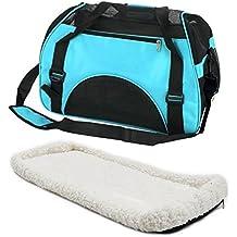 Hundetasche mit flauschiger Einlage und Schultergurt (blau)